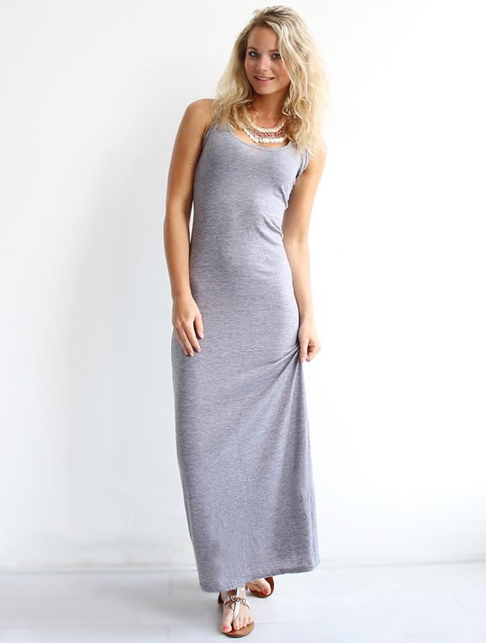 Lange jurk grijs