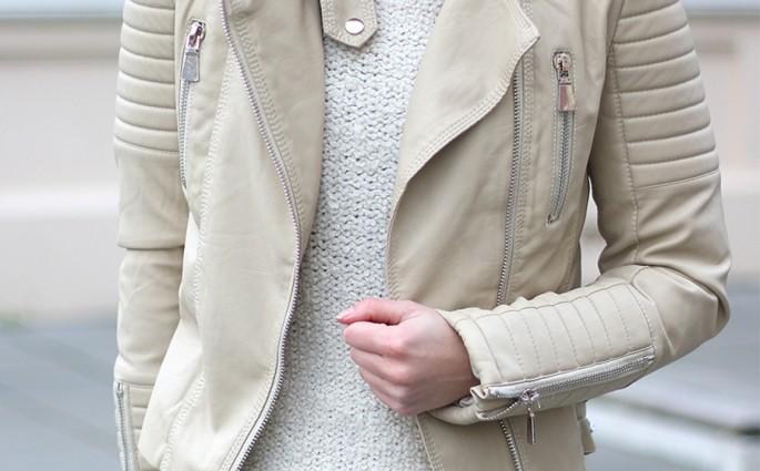 beige biker jacket