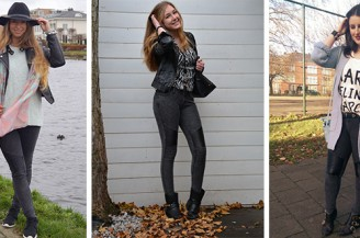 Blogger Battle: Leather biker jeans