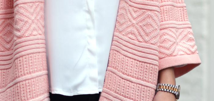Outfit: Roze aztec vest