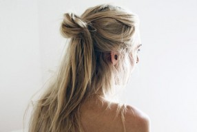 Haar tutorial de messy half bun