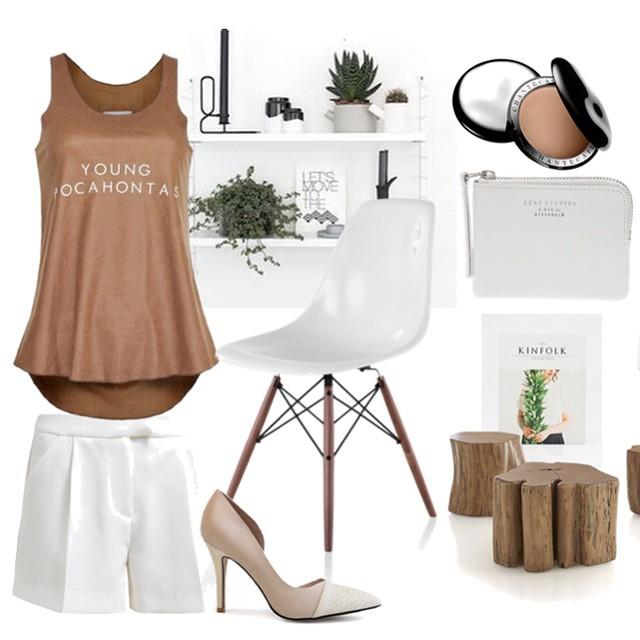 Bruin en wit is niet alleen een perfecte combi voor je interieur, ook voor je outfit! Shop deze top en de pumps in onze webshop en lees de blog op FollowFashion.nl #followfashion #lasisters #outfit #interior #interiordesign #eames #fashion