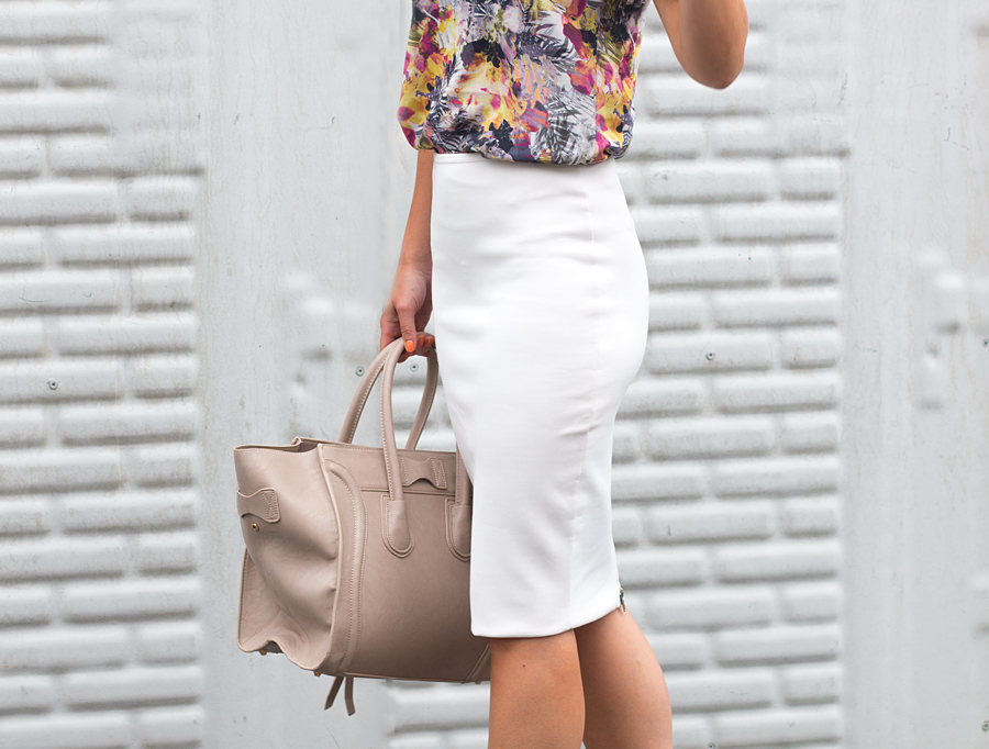 outfit witte pencil skirt