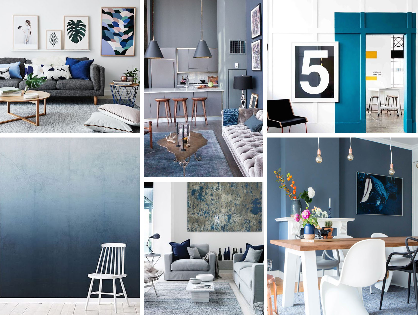 Interieurinspiratie blauw in je interieur follow fashion for Bruin grijs interieur