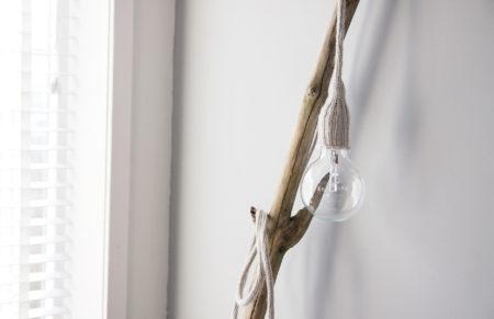 DIY Lamp maken met gebreid snoer