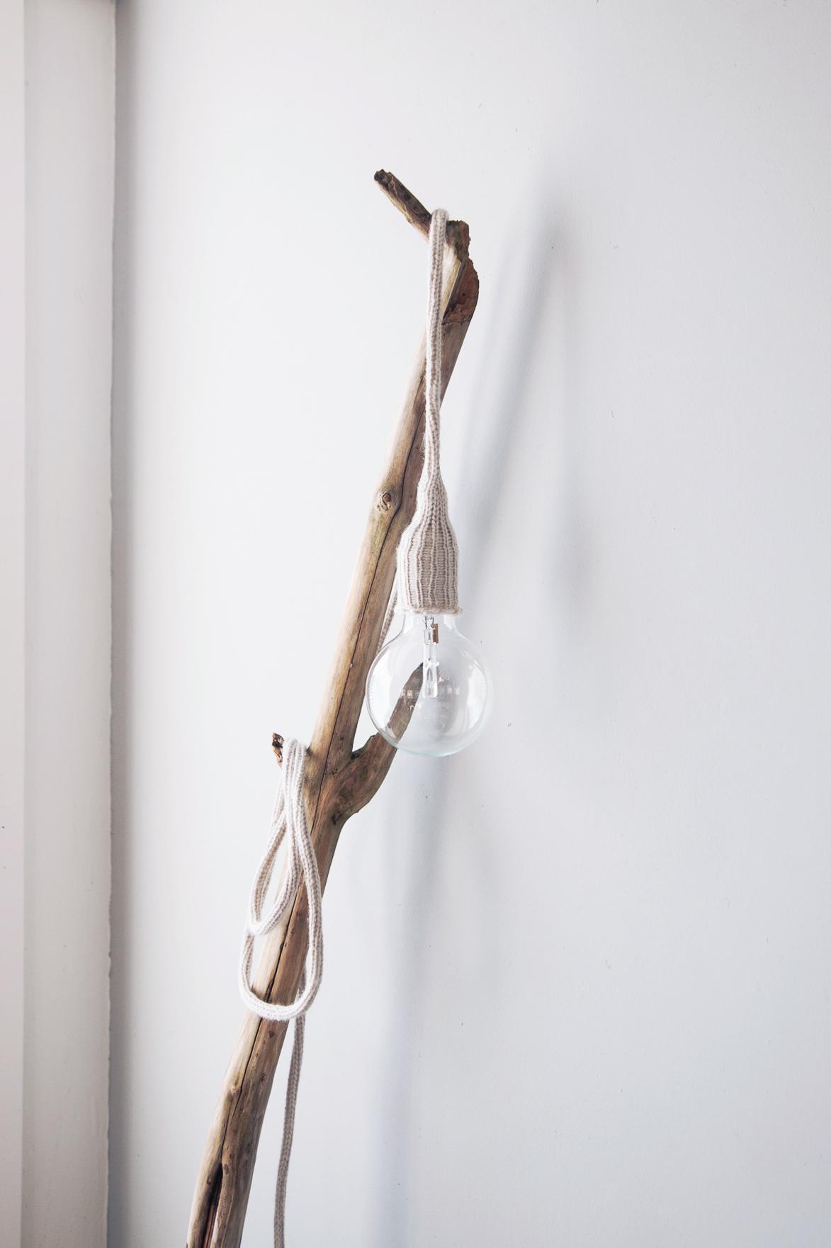 DIY gebreide snoerlamp