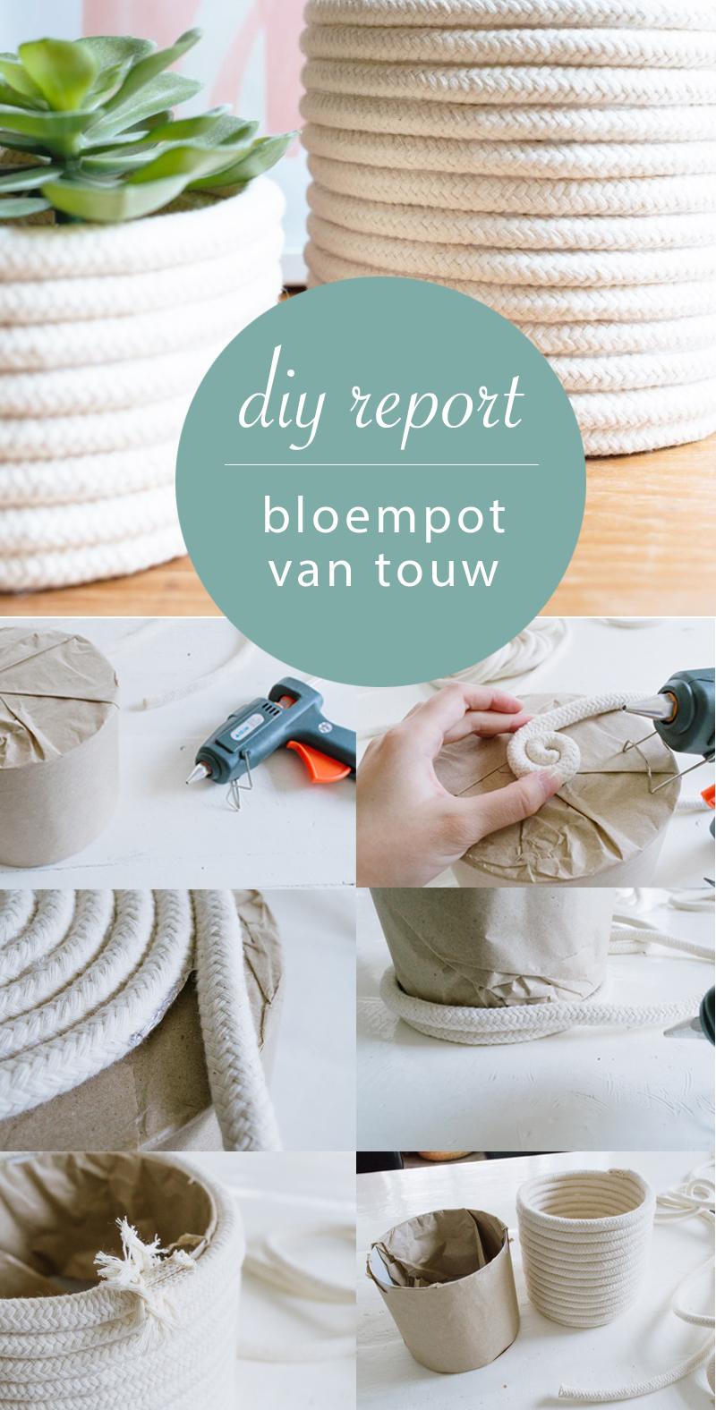 diy report bloempot van touw
