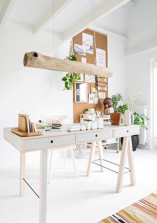 werkkamer inrichten groene planten