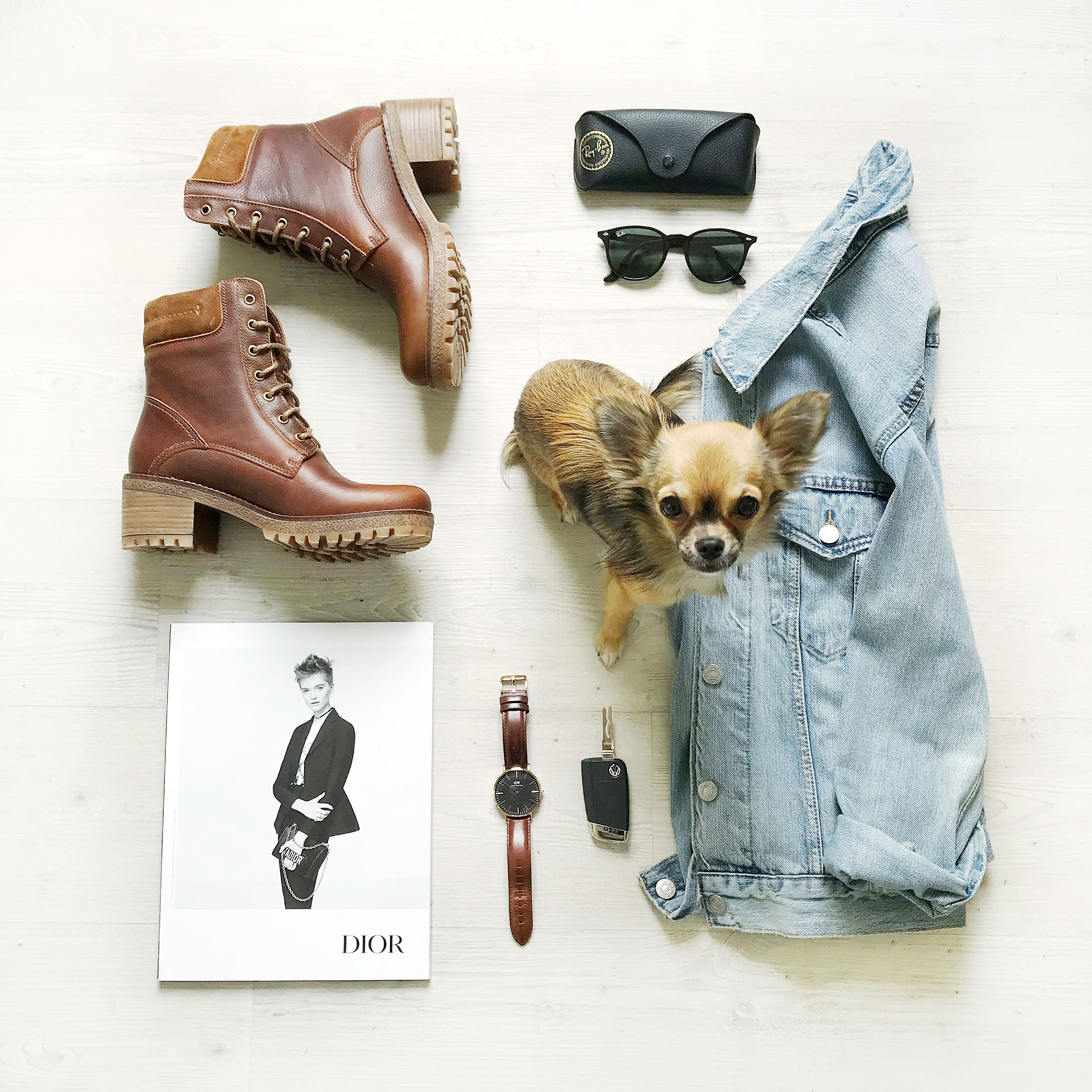 worker boots flatlay