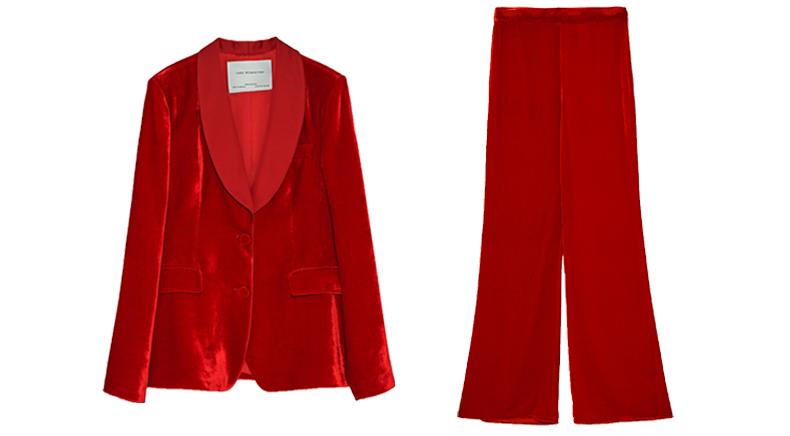 modekleur rood damespak fluweel